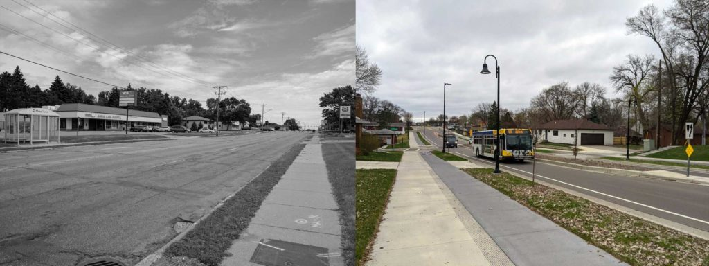 Two pictures side-by-side, showing East 66th Street before and after construction.