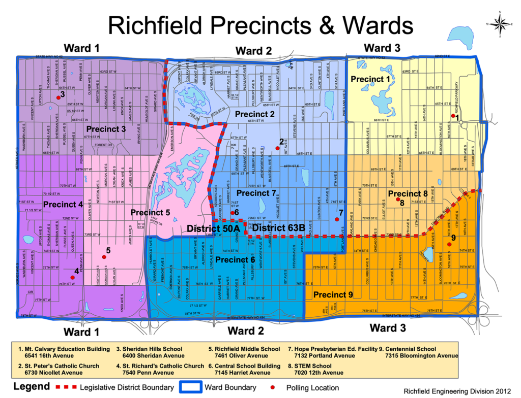 A map depicting the wards of Richfield. Ward is emphasized, which is between 35W and Portland Avenue, with exceptions near Woodlake and near Portland and 77th Street.